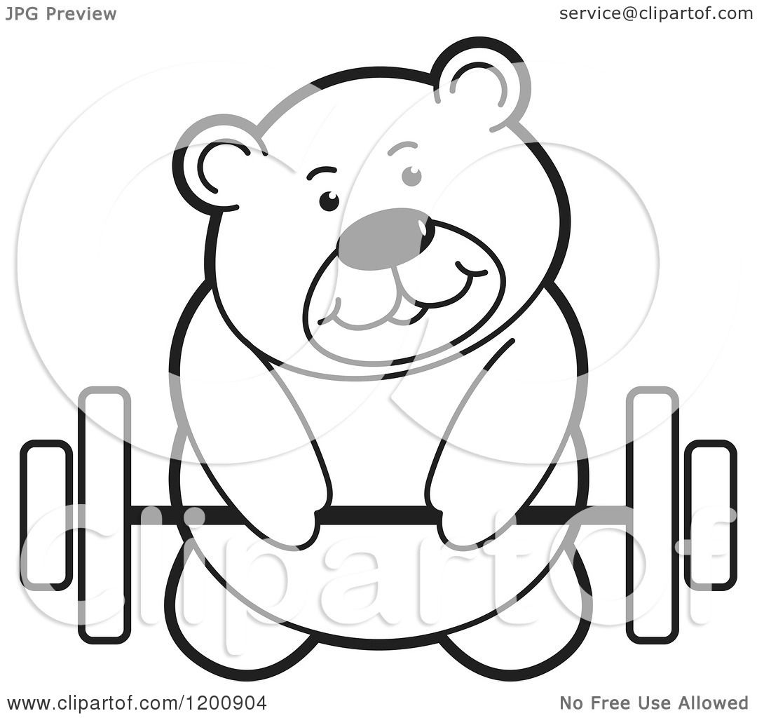Cartoon Of A Black And White Teddy Bear Lifting A Barbell