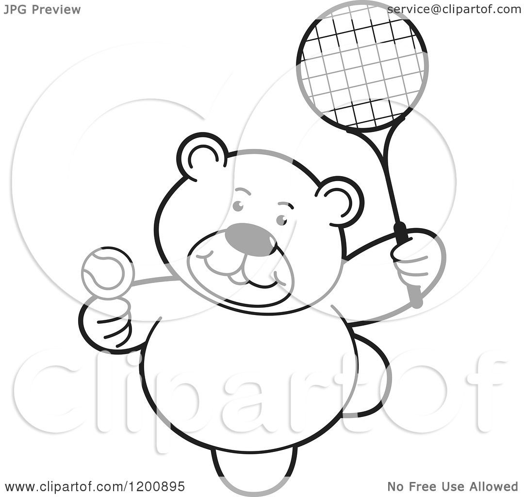 Cartoon Of A Black And White Teddy Bear Playing Tennis