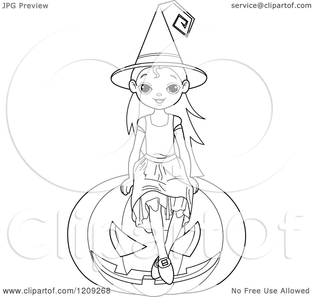 Cartoon Of A Black And White Witch Girl Sitting On A