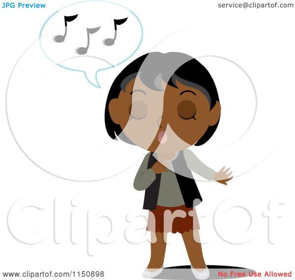 Cartoon Of Black Indian Girl Singing - Royalty Free