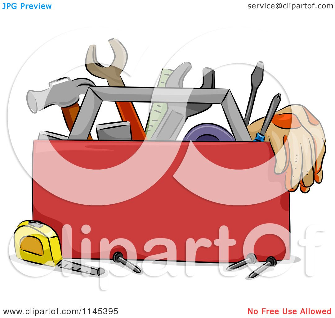 hight resolution of cartoon of a carpentry tool box royalty free vector clipart by bnp design studio