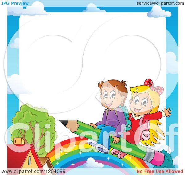 Cartoon Of Cloud Border Happy School Children Flying