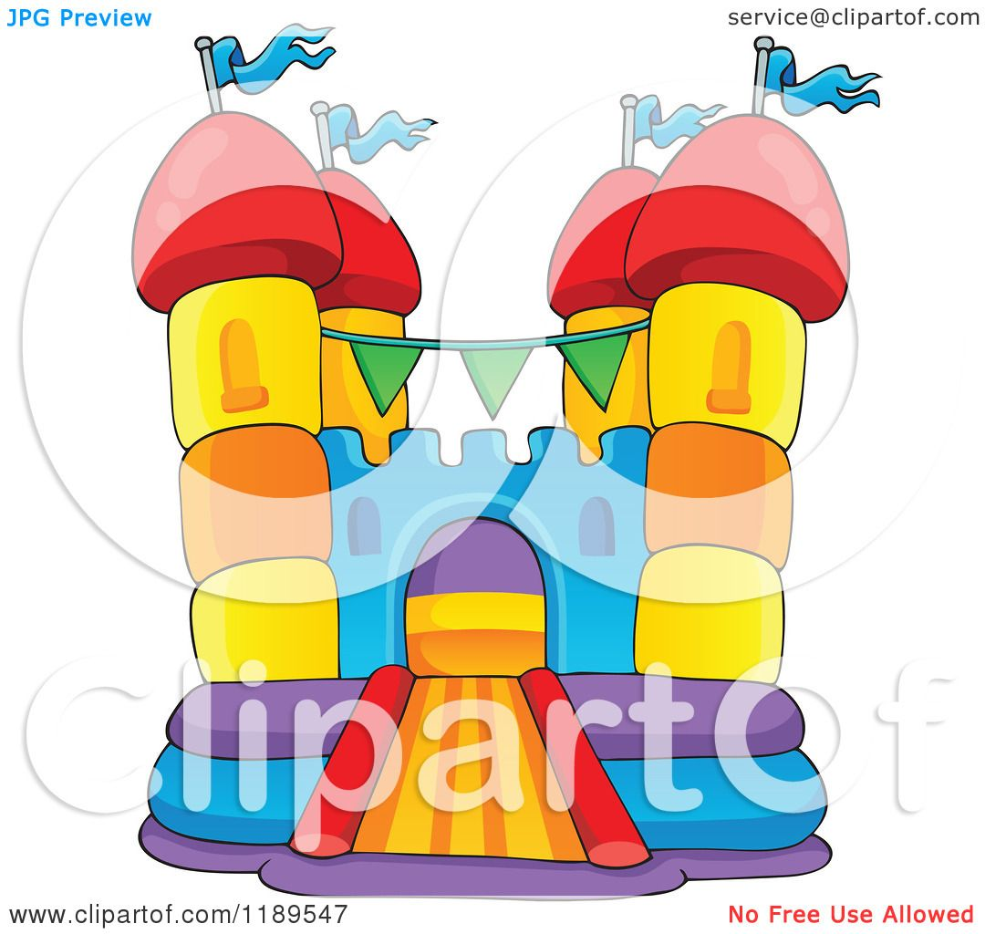 hight resolution of cartoon of a colorful bouncy house castle royalty free vector clipart by visekart