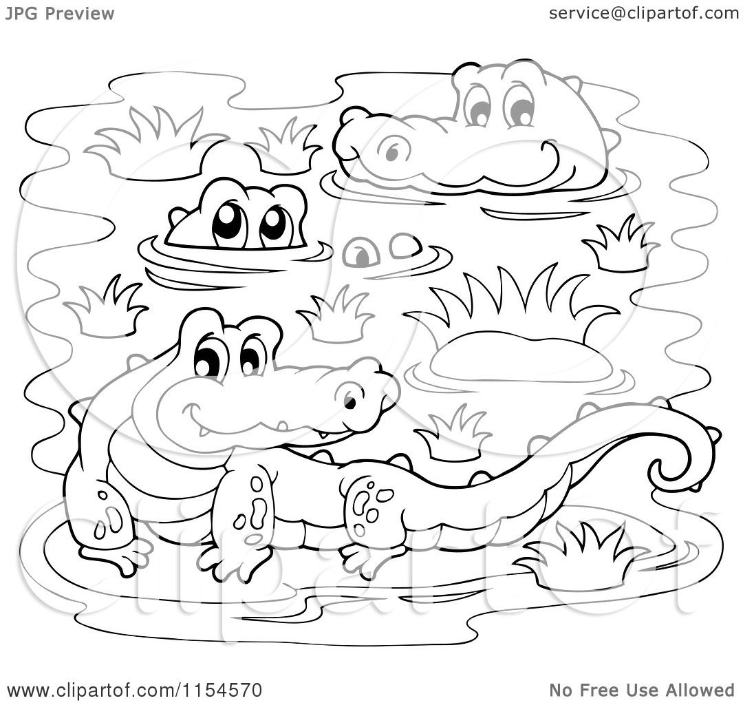 Cartoon of a Coloring Page of Crocodiles in a Swamp