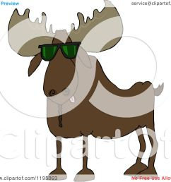 cartoon of a cool moose wearing sunglasses royalty free vector clipart [ 1080 x 1024 Pixel ]