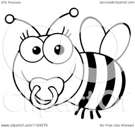 bee baby cute pacifier clipart cartoon vector royalty toon hit illustration clipartmag