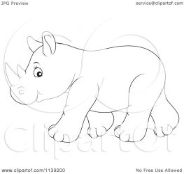 rhino cute baby clipart cartoon royalty vector illustration bannykh alex