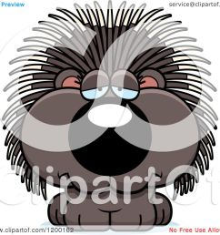 cartoon of a depressed porcupine porcupet royalty free vector clipart by cory thoman [ 1080 x 1024 Pixel ]