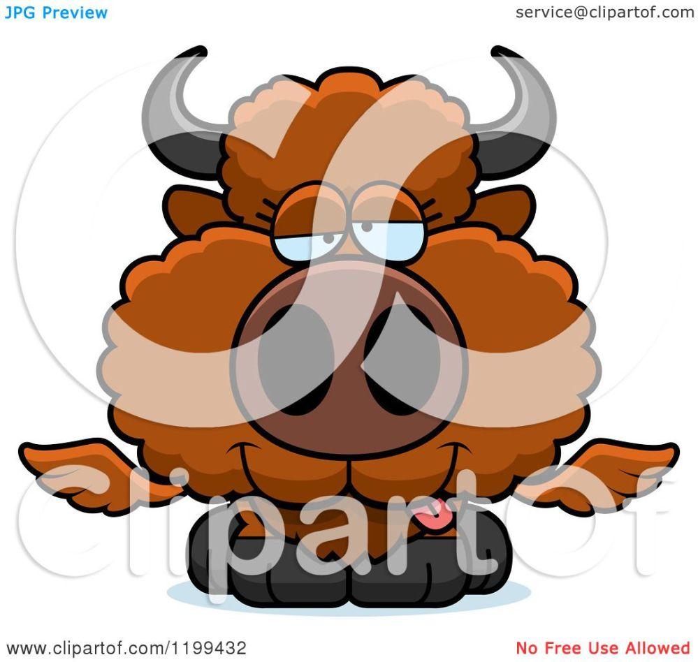 medium resolution of cartoon of a drunk winged buffalo calf royalty free vector clipart by cory thoman