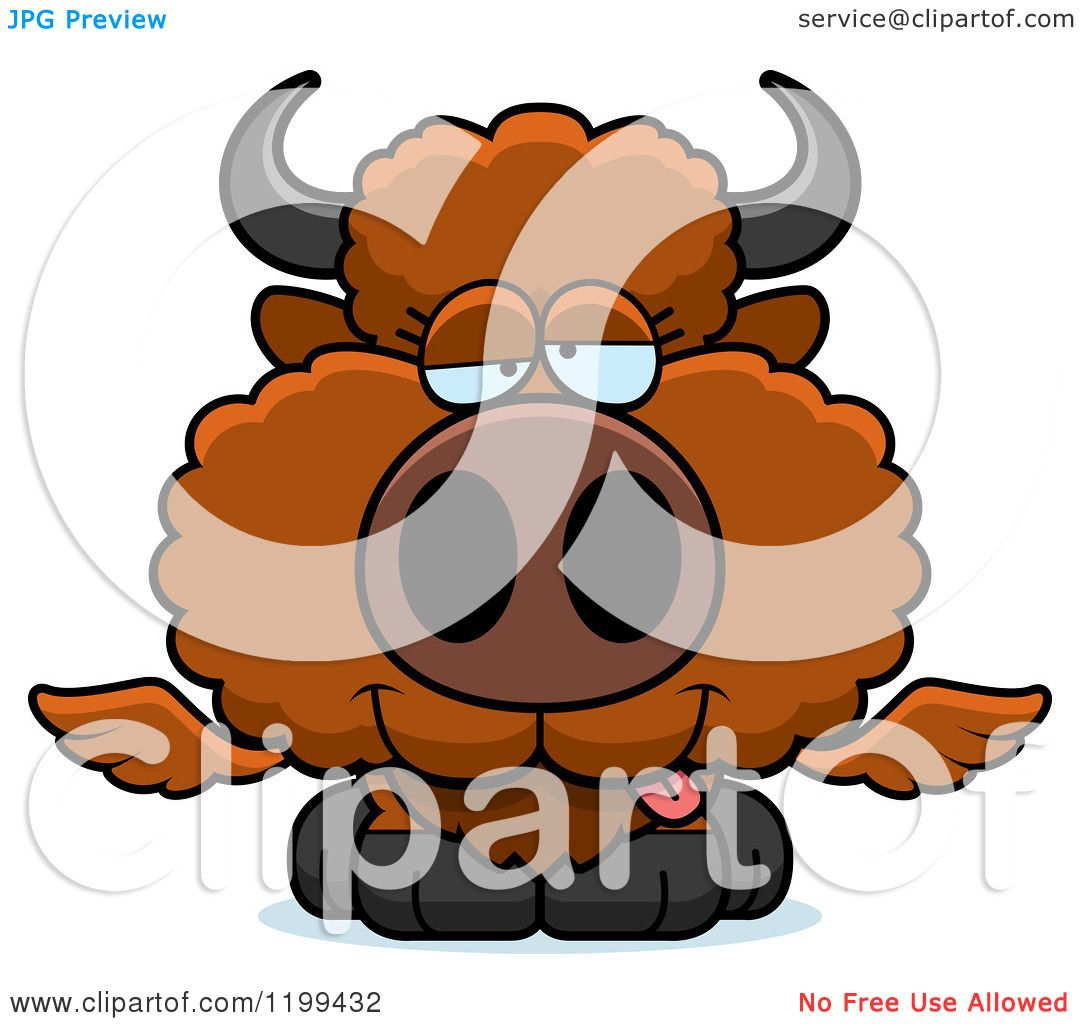 hight resolution of cartoon of a drunk winged buffalo calf royalty free vector clipart by cory thoman