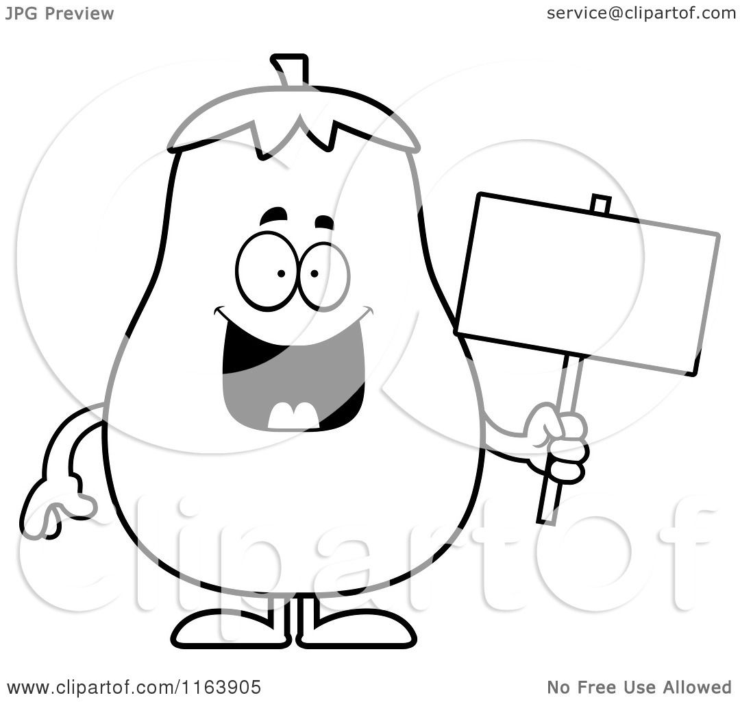 Cartoon Of A Eggplant Mascot Holding A Sign