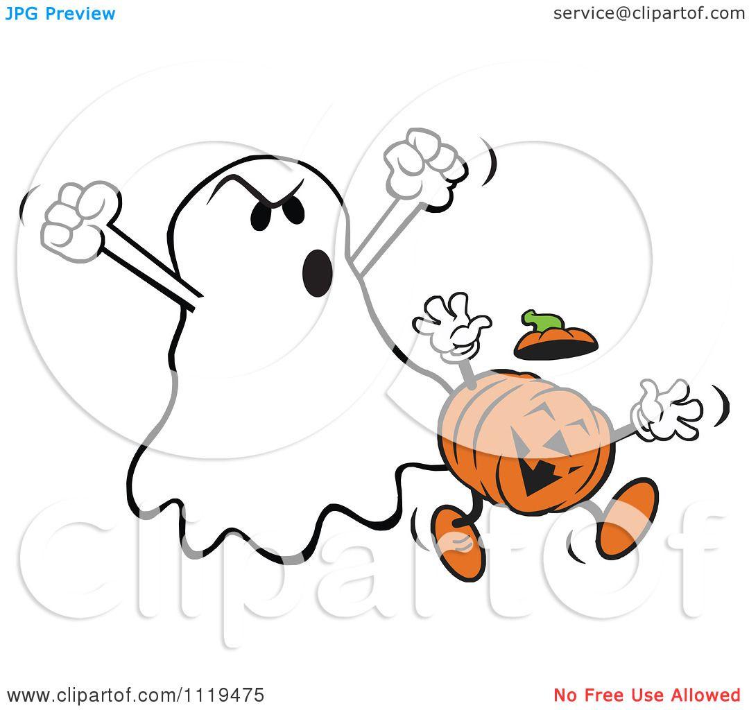 Cartoon Of A Halloween Ghost Frighteneing A Jackolantern
