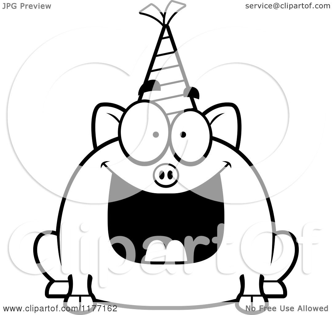 Cartoon Of A Happy Birthday Pig Wearing A Party Hat