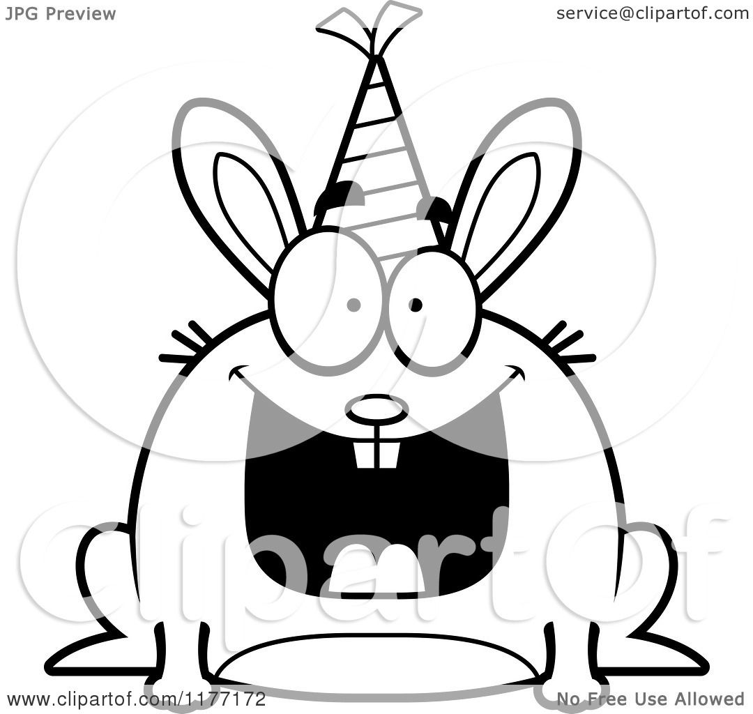 Cartoon Of A Happy Birthday Rabbit Wearing A Party Hat