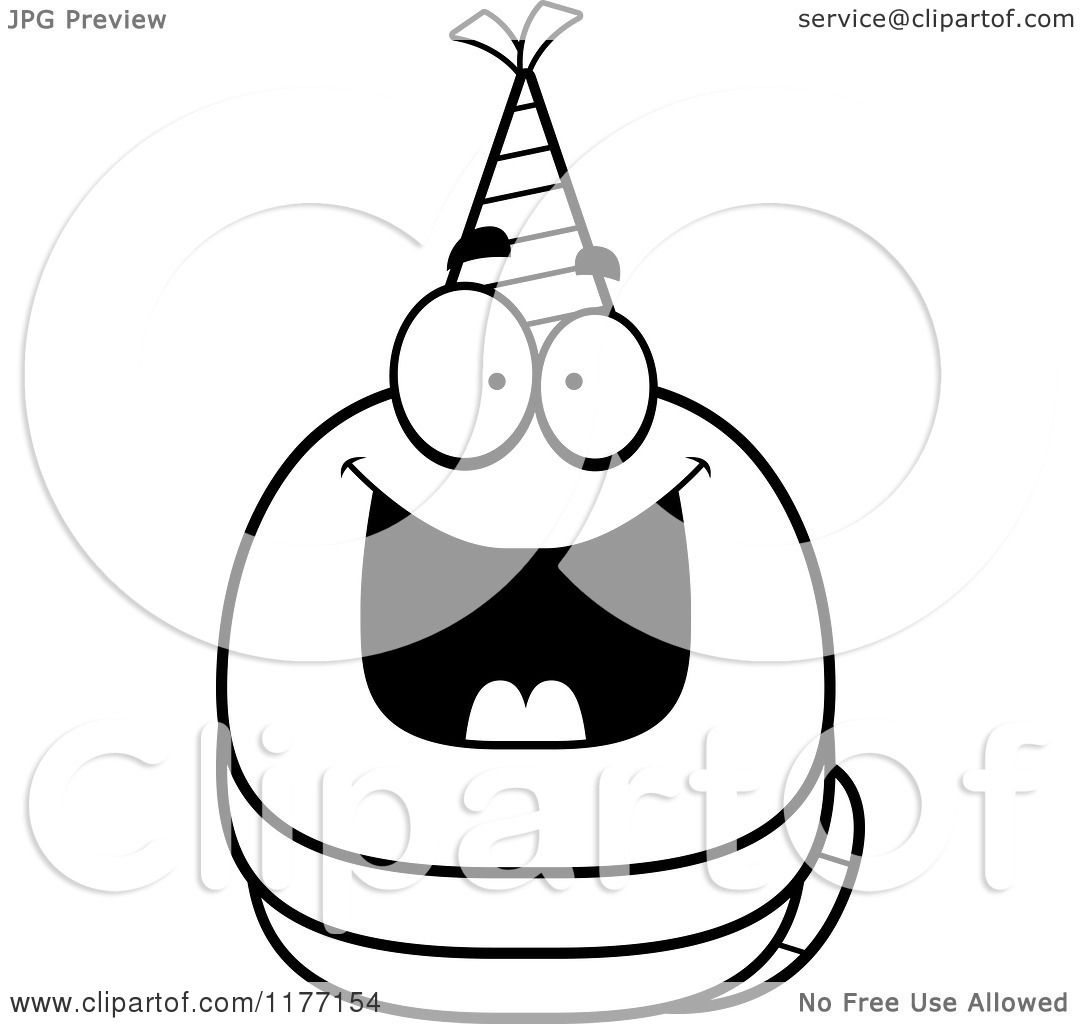 Cartoon Of A Happy Birthday Worm Wearing A Party Hat