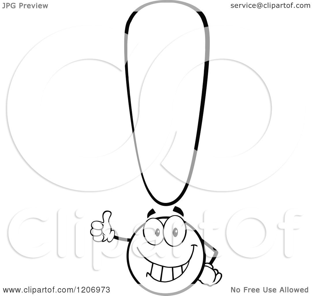 Cartoon Of A Happy Black And White Exclamation Point