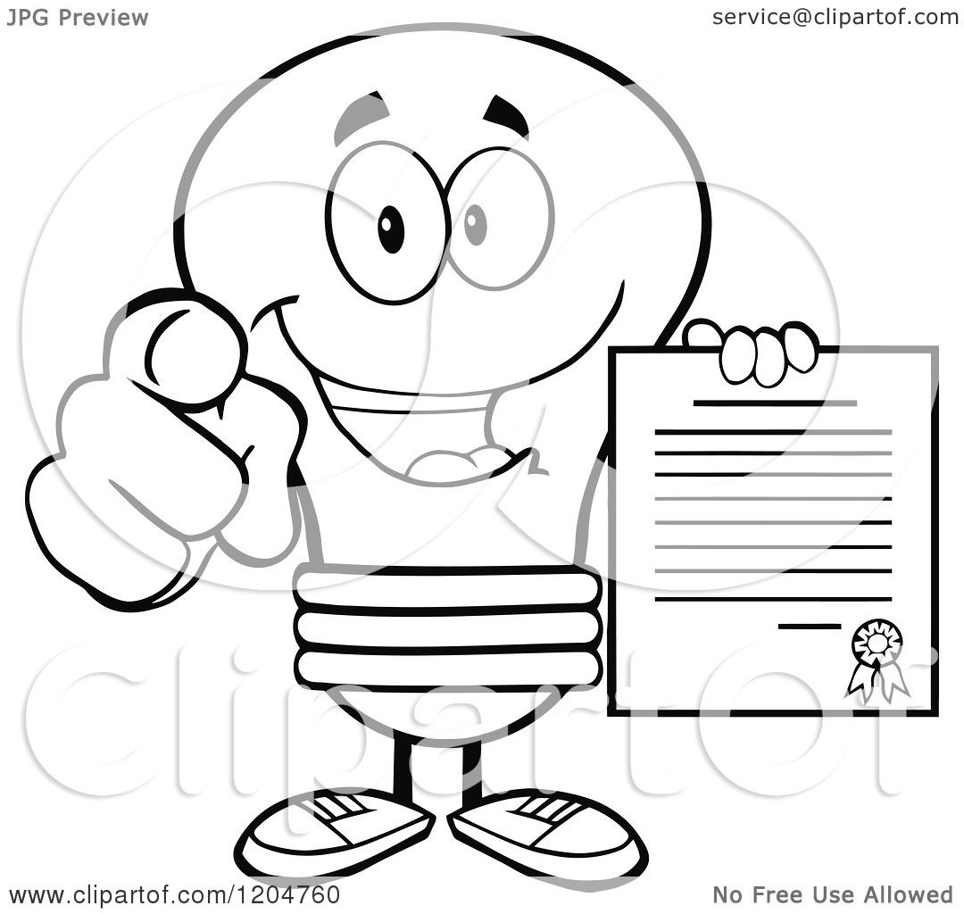 Cartoon of a Happy Black and White Light Bulb Mascot