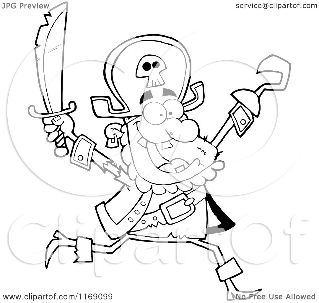 Cartoon of a Happy Black and White Pirate Running with a