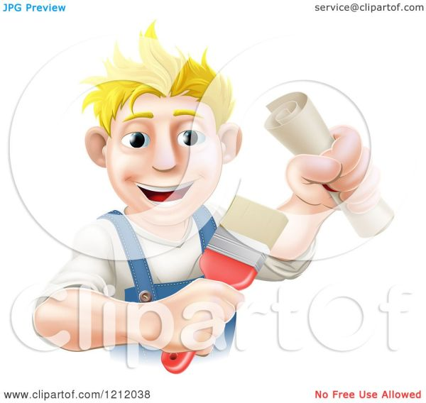 Cartoon Of Happy Blond Painter Holding Certificate And