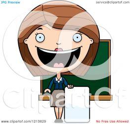 teacher happy clipart cartoon sign holding female royalty vector thoman cory copyright license illustration regarding notes