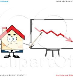 cartoon of a happy home businessman mascot presenting a decline chart royalty free vector clipart [ 1080 x 1024 Pixel ]