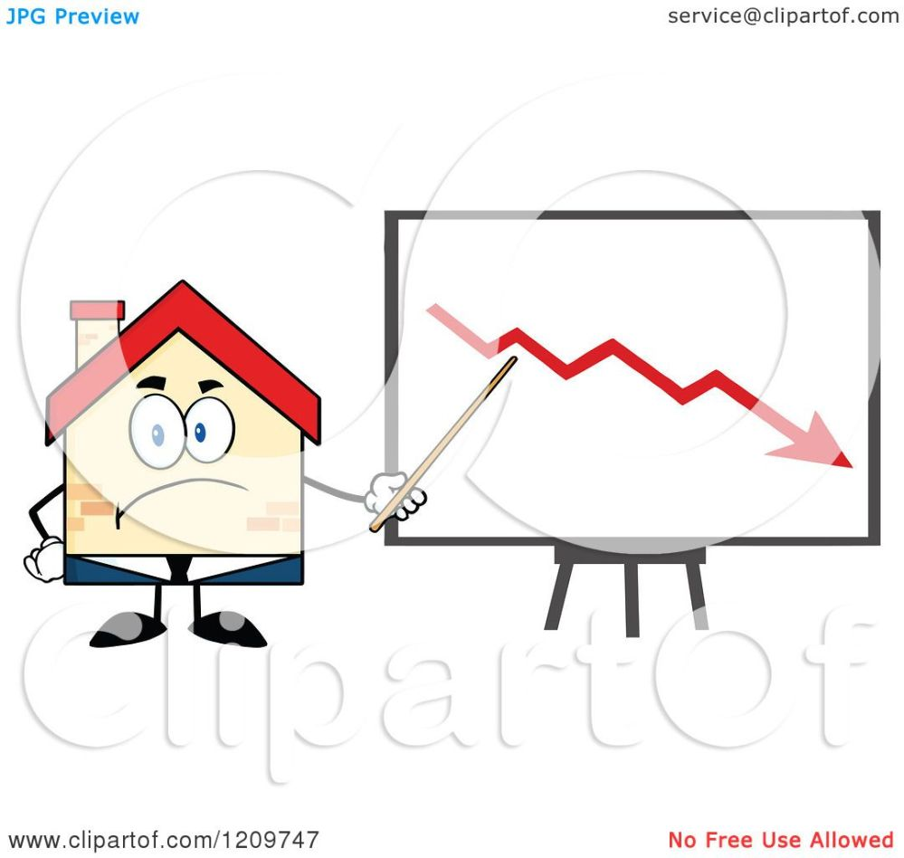 medium resolution of cartoon of a happy home businessman mascot presenting a decline chart royalty free vector clipart