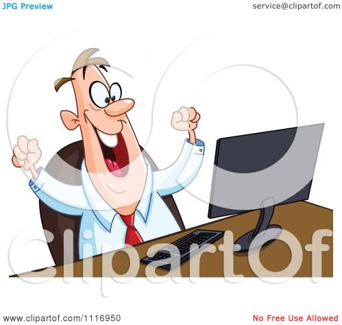 small resolution of clipart frustrated person at computer person working on computer clip art cartoon of a happy man working at or watching