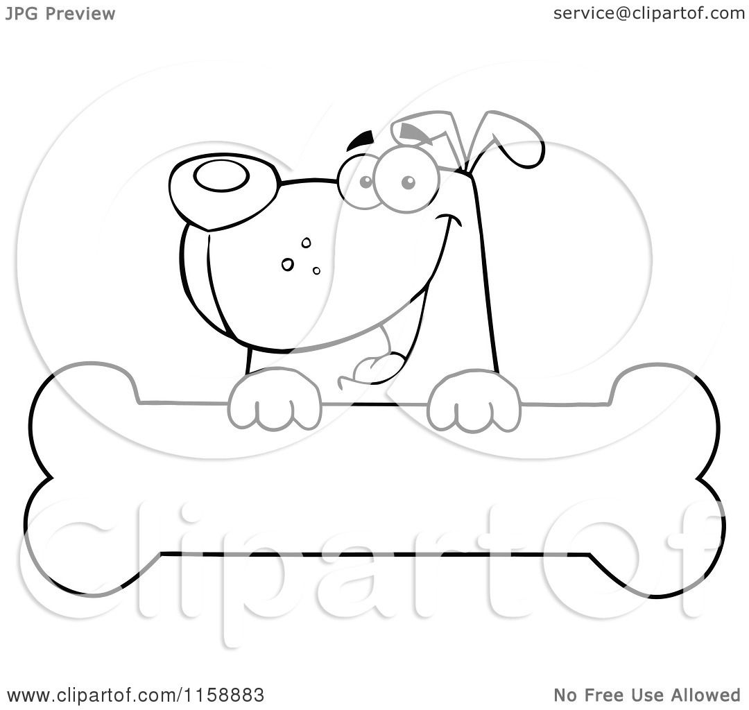 Cartoon Of A Happy Outlined Dog Smiling Over A Bone Sign