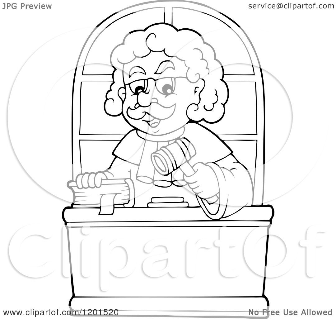 Cartoon Of A Happy Outlined Male Judge With A Bible And