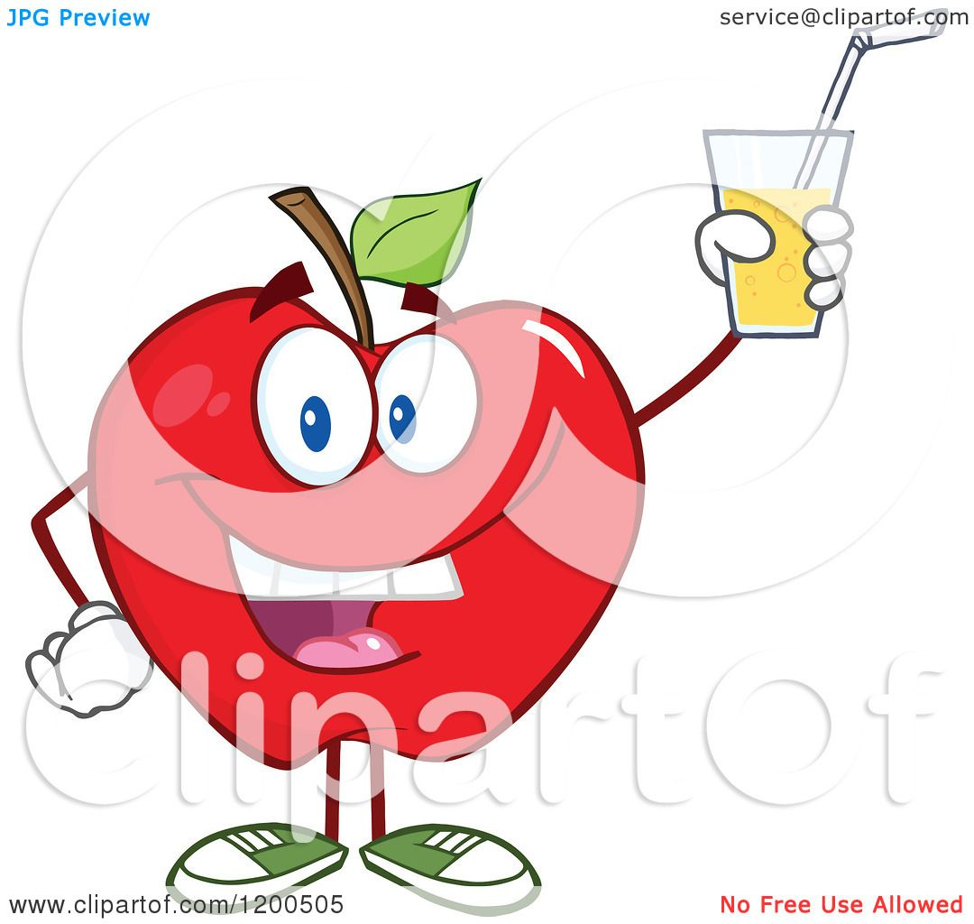 hight resolution of cartoon of a happy red apple holding up a glass of juice or cider royalty