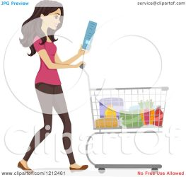 shopping woman pushing grocery clipart cart happy cartoon reading vector royalty bnp studio regarding notes
