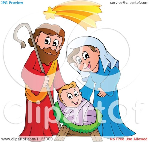 small resolution of cartoon of a joseph virgin mary and baby jesus nativity scene royalty free vector clipart by visekart