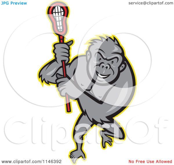 Cartoon Of Lacrosse Gorilla Holding Stick - Royalty