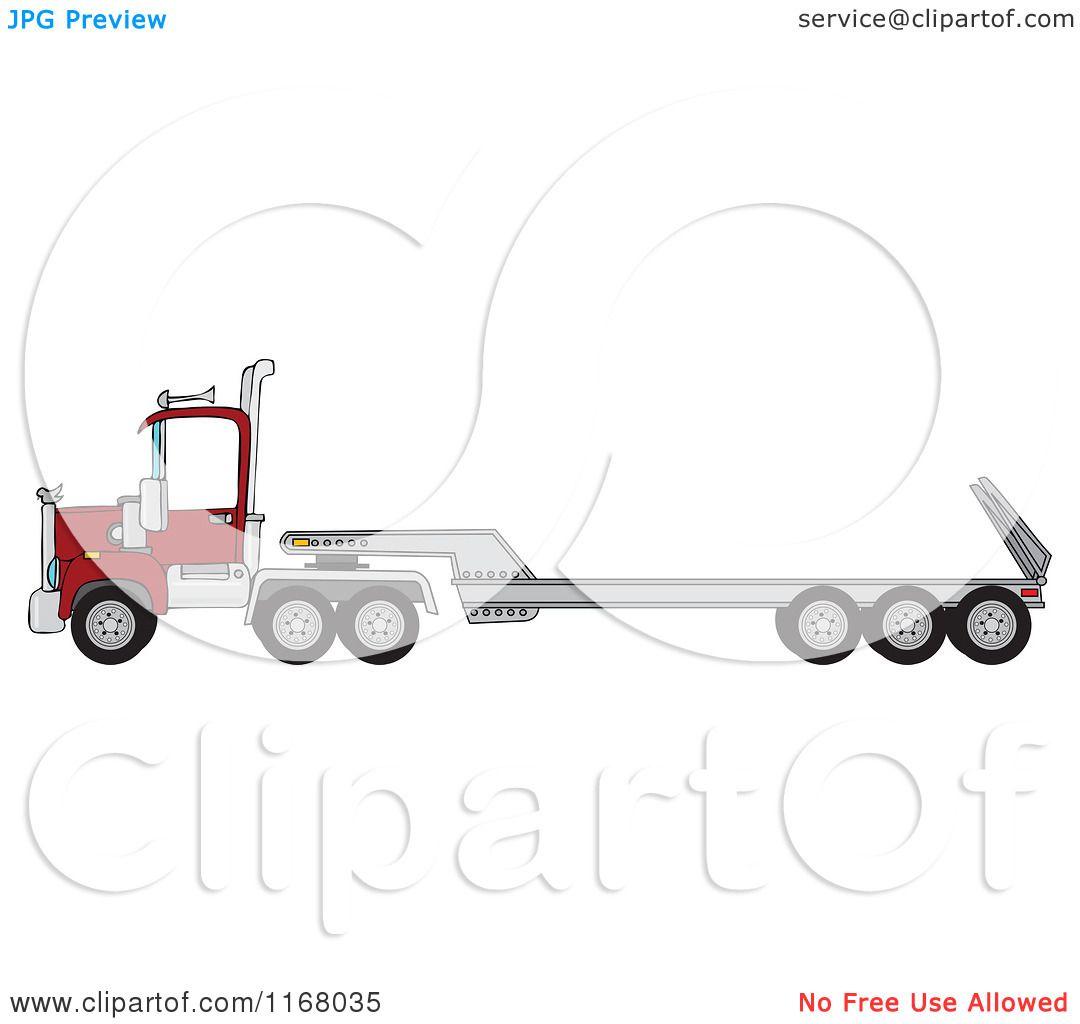 Cartoon Of A Low Boy Big Rig Truck