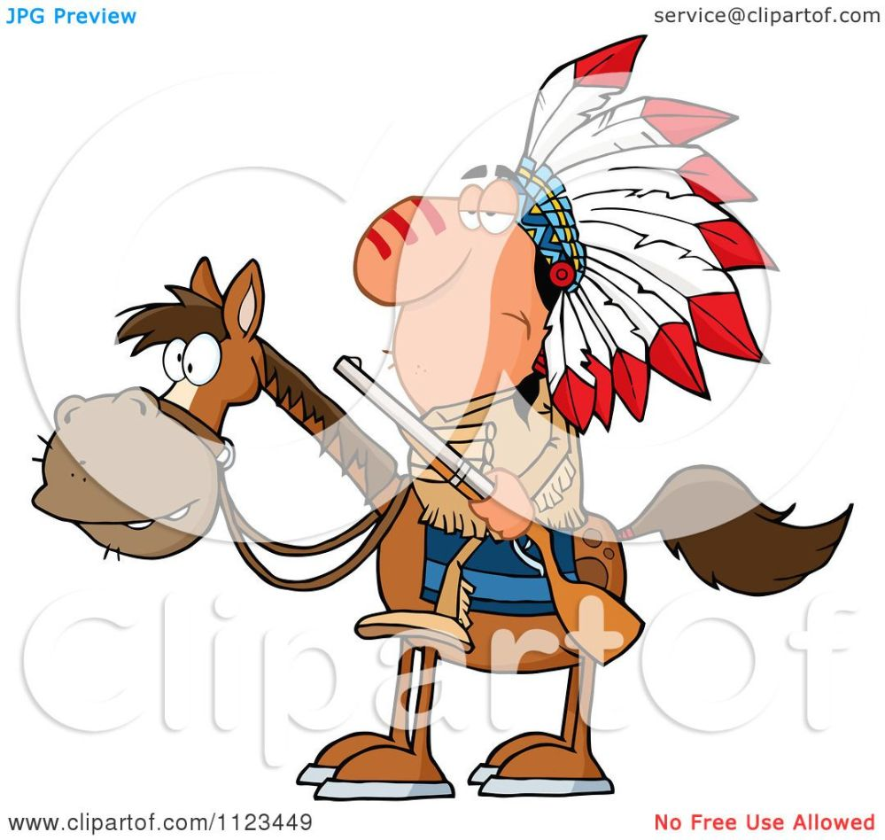 medium resolution of cartoon of a native american indian chief on horseback with a rifle royalty free vector