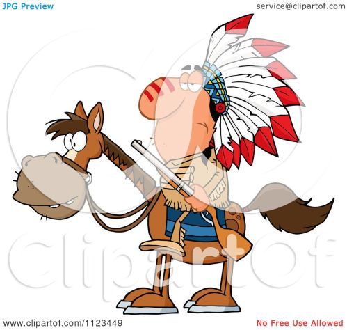 small resolution of cartoon of a native american indian chief on horseback with a rifle royalty free vector