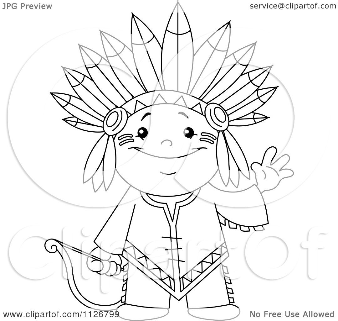 Cartoon Of A Outlined Cute Native American Indian Archer