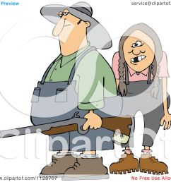 cartoon of a redneck hillbilly man and woman with a shotgun royalty free vector clipart [ 1080 x 1024 Pixel ]