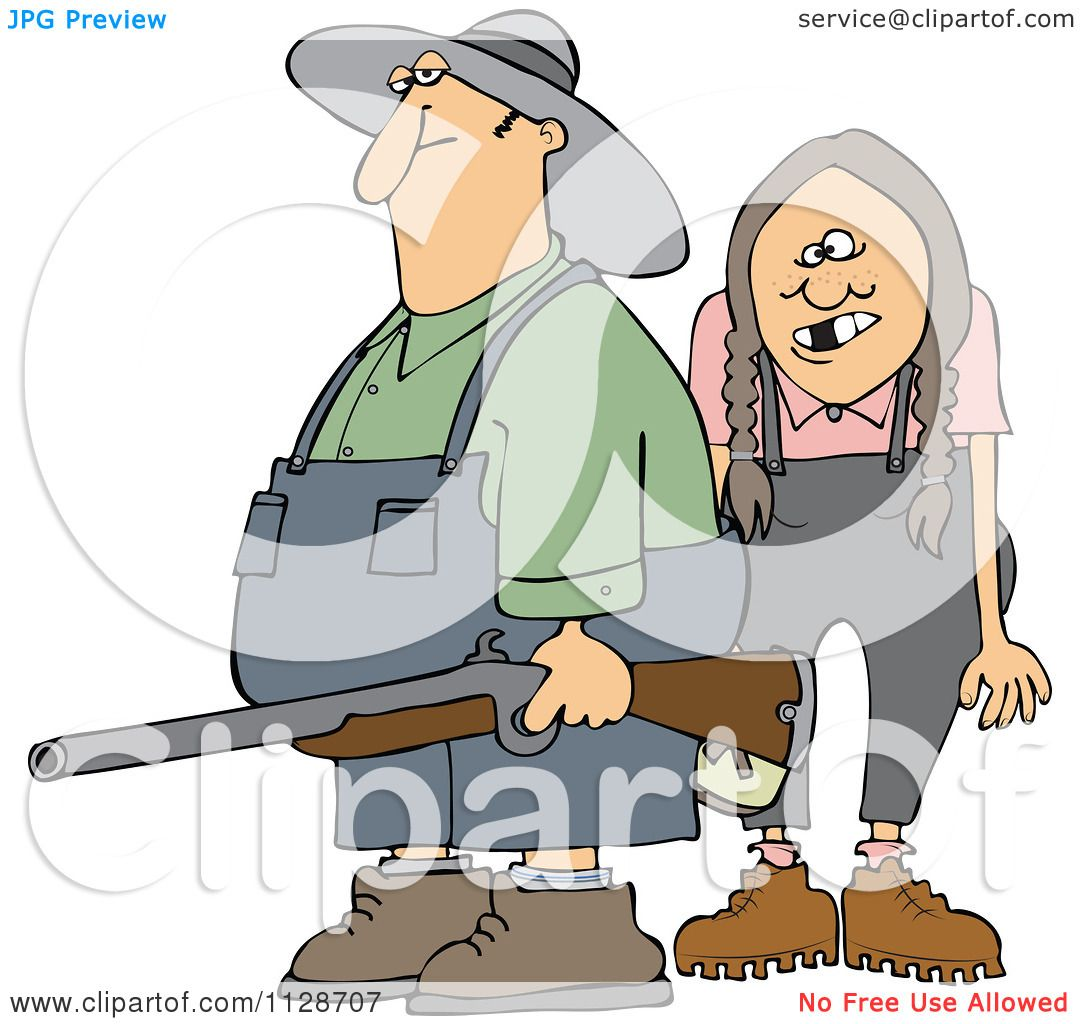 hight resolution of cartoon of a redneck hillbilly man and woman with a shotgun royalty free vector clipart