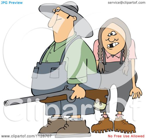 small resolution of cartoon of a redneck hillbilly man and woman with a shotgun royalty free vector clipart