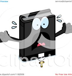 cartoon of a scared bible mascot royalty free vector clipart by cory thoman [ 1080 x 1024 Pixel ]
