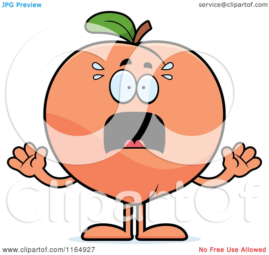 Cartoon of a Scared Peach Mascot - Royalty Free Vector Clipart by Cory Thoman #1164927