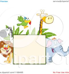 cartoon of a square sign and happy zoo animals over leaves royalty free vector clipart by hit toon [ 1080 x 1024 Pixel ]