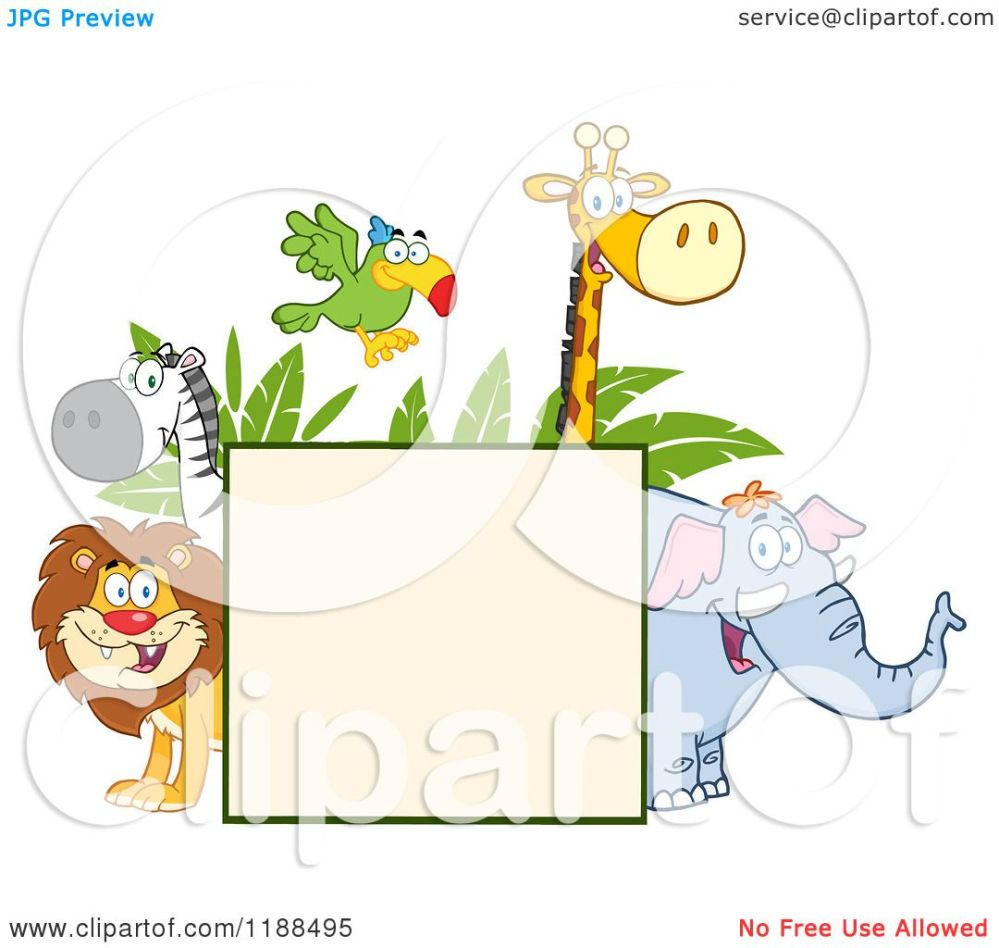 medium resolution of cartoon of a square sign and happy zoo animals over leaves royalty free vector clipart by hit toon