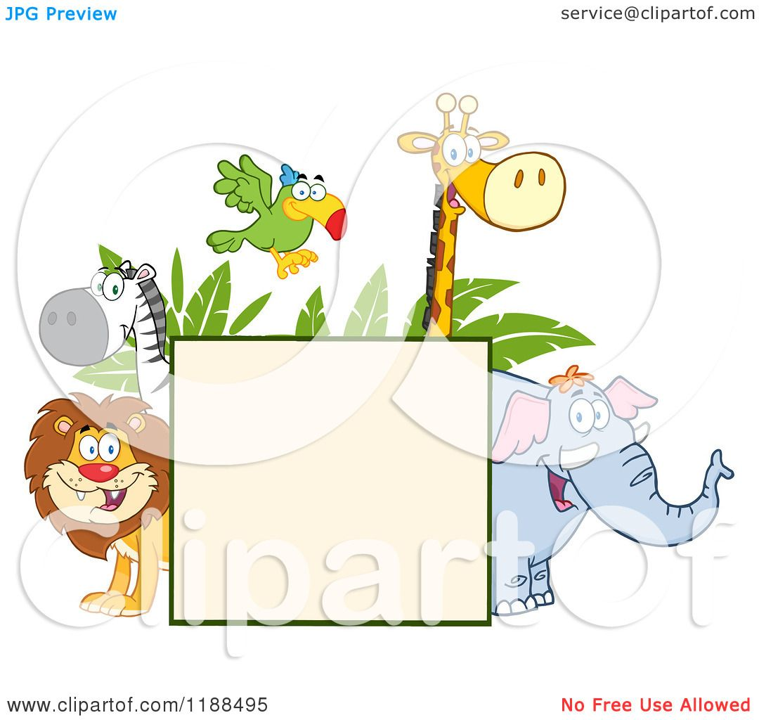 hight resolution of cartoon of a square sign and happy zoo animals over leaves royalty free vector clipart by hit toon