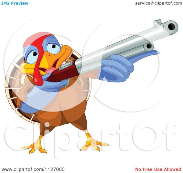Cartoon Of Thanksgiving Turkey Bird Shooting Rifle