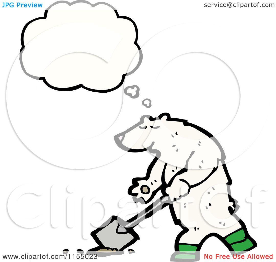 Cartoon Of A Thinking Polar Bear Digging