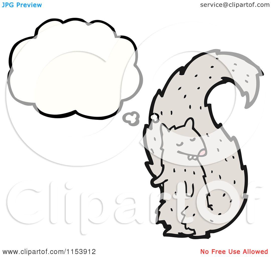 Cartoon Of A Thinking Squirrel