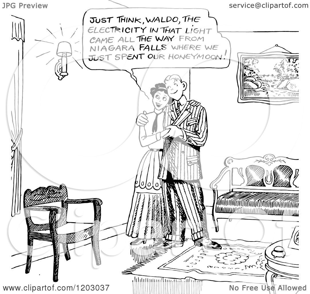 Cartoon Of A Vintage Black And White Happy Couple Admiring