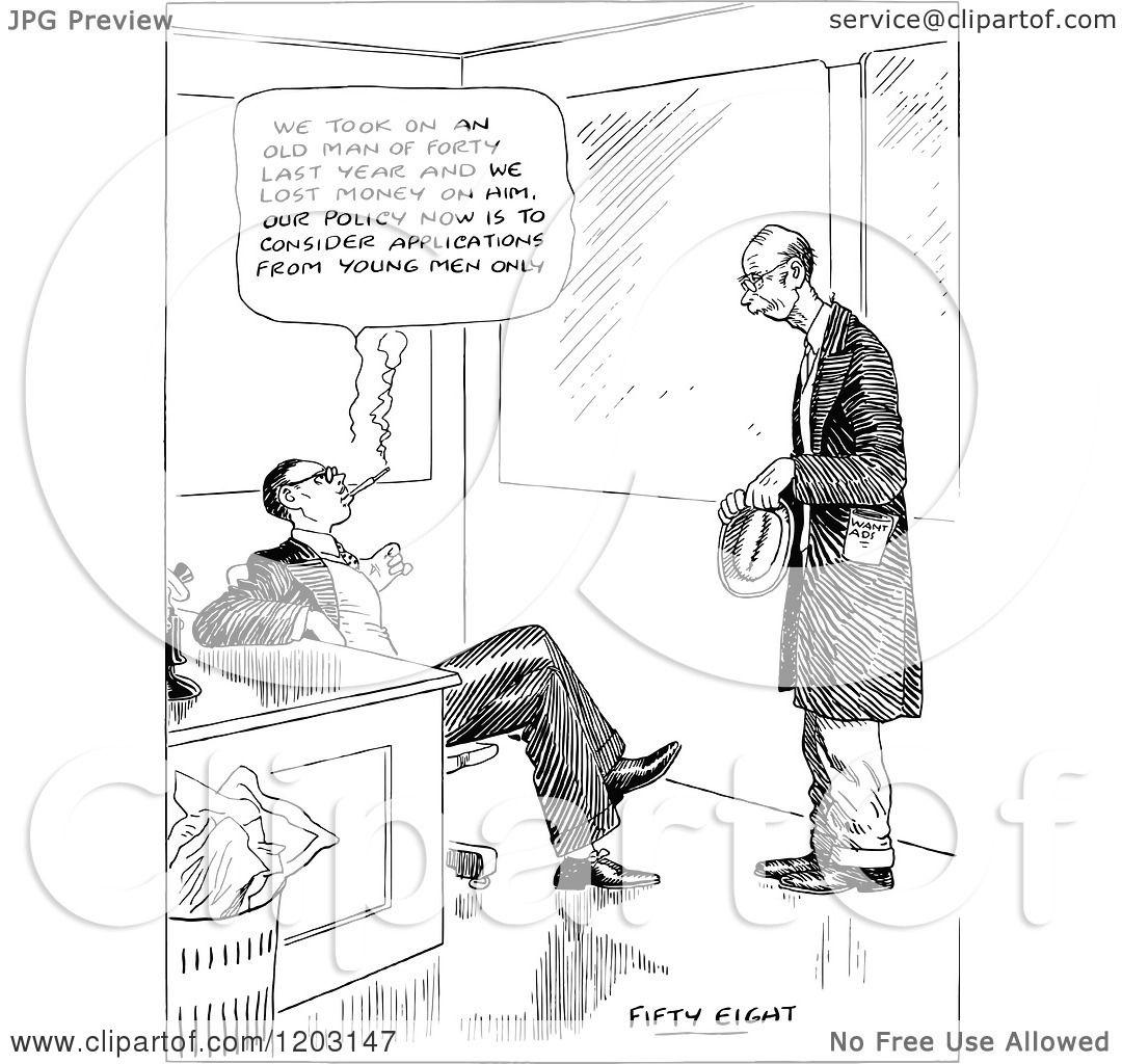 Cartoon Of A Vintage Black And White Man Job Hunting